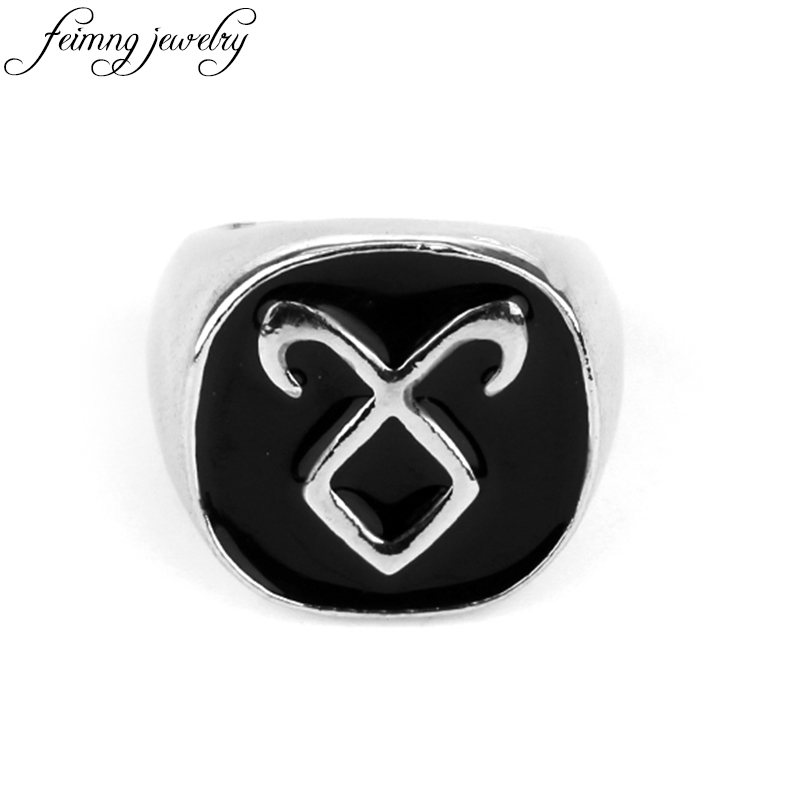 feimeng jewelry The Mortal Instruments City Of Bones Rings Black Enamel Angelic Power Rune Ring For Men Fashion Accessories