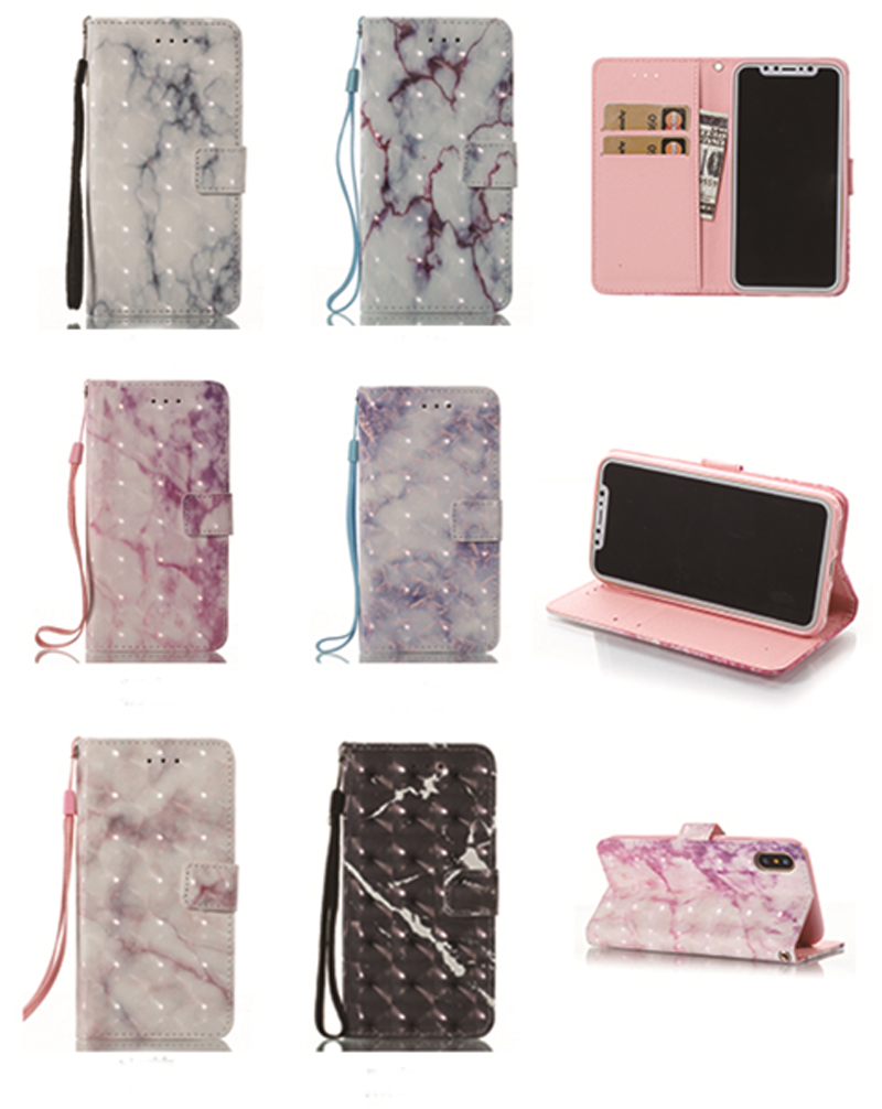 Fashionable For iPhone Case for iPhone5 5S SE 6s 7 8 X Puls Case Marble Texture Leather Wallet Flip Phone Cover for Case Shells