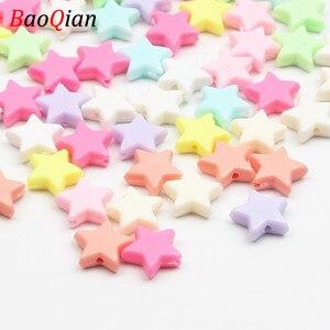Пластиковые бусины в форме звезды для самостоятельного изготовления ювелирных украшений, аксессуары для детских ожерелий, 50 шт./лот