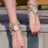 DIEZI Vintage Fashion One Piece Water Drop Ankle Barefoot Sandals Beach Foot Jewelry Sexy Pie Leg