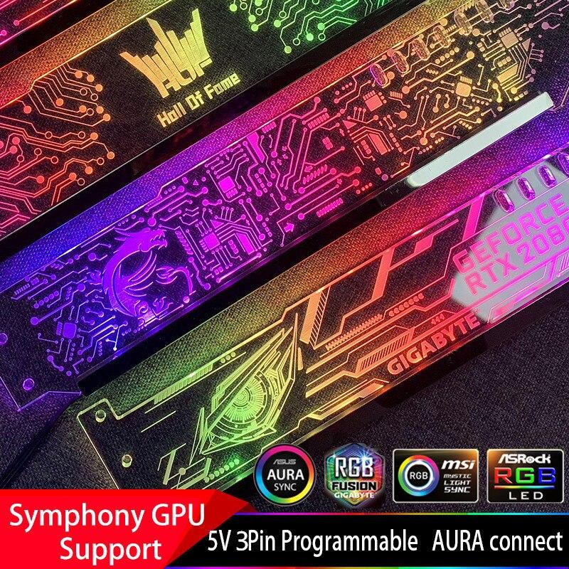 גרפיקה כרטיס תמיכה מסגרת צבעוני RGB/D-RGB LED VGA כרטיס מחזיק מארז אמונה מנורת שקע אור זיהום ASUS הילה