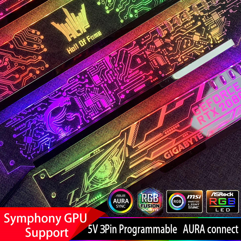 Graphics Card Support Frame Colorful RGB / D-RGB LED VGA card holder Chassis belief lamp jack Light pollution ASUS AURA image