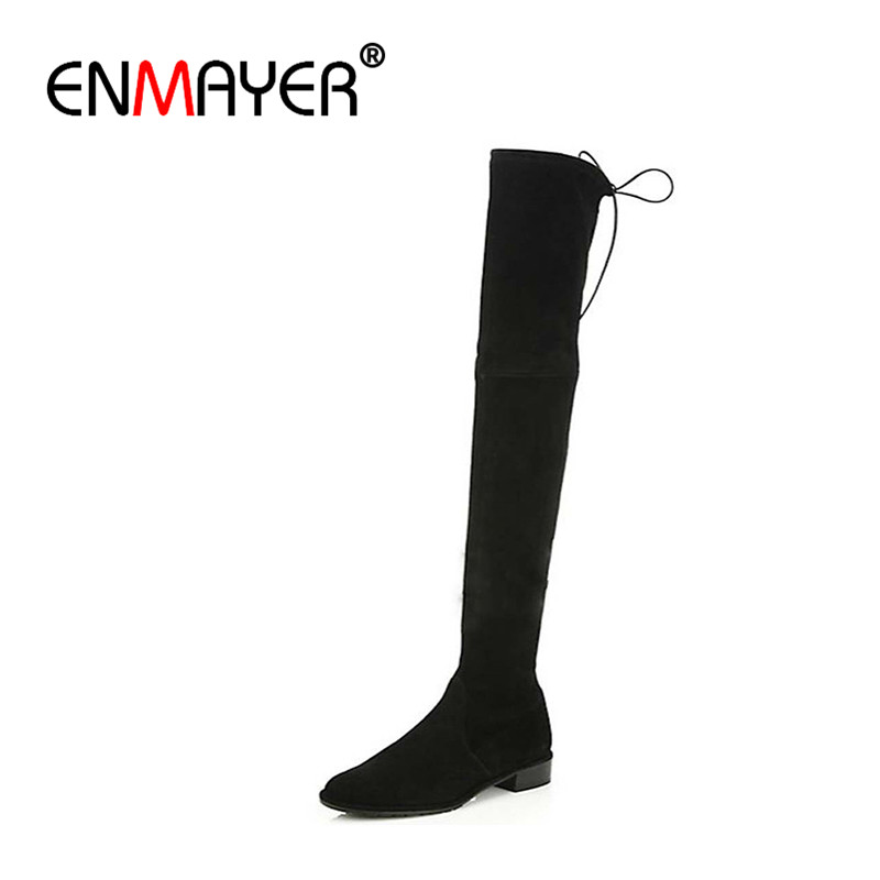 ФОТО ENMAYER Over-the-Knee Boots for Women Winter Warm Long  Black Grey Big Size 34-40 Flats Shoes Lace-Up Fashion Motorcycle Boots