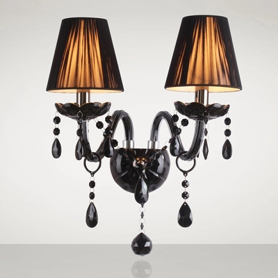 Modern Home Lighting European Style Crystal Wall Lamp High-end Black Hat Indoor Wall Light Bedroom Art Deco Lighting LED Bulbs e14 black crystal wall lamp light black silk fabric lampshade crystal wall lighting creatie crystal wall lamp study lamp