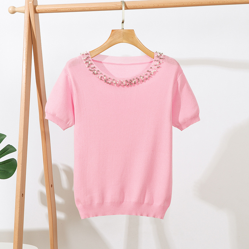 Retro Women Short Sleeve Handmade Pearl Beading Ladies Tee Tops Summer Solid Weekend Casual Fit Round Neck Knit Basic T Shirt