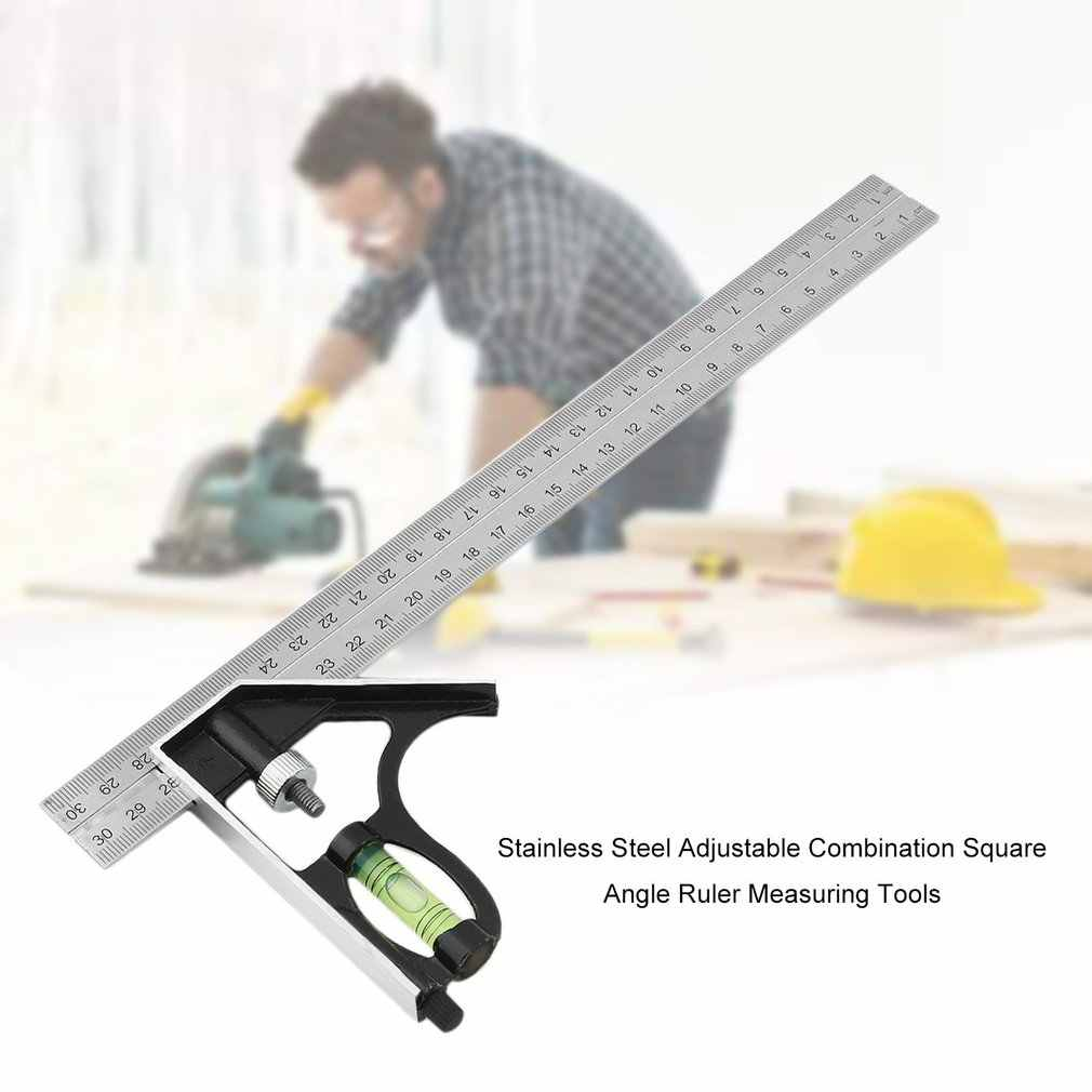 New Hot Stainless Steel Adjustable Combination Square Angle Ruler Measuring Tools