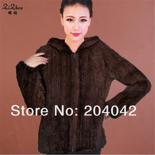 New Wholesale Fashion Plus Size Genuine Mink Fur Coat Natural Knitted Mink Fur Jacket For Women With Hoodies Winter131129-4c