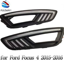 for Ford focus 4 2015 2016  LED DRL daytime running lights high power fog cover lamp dimmer function turn signal free shipping