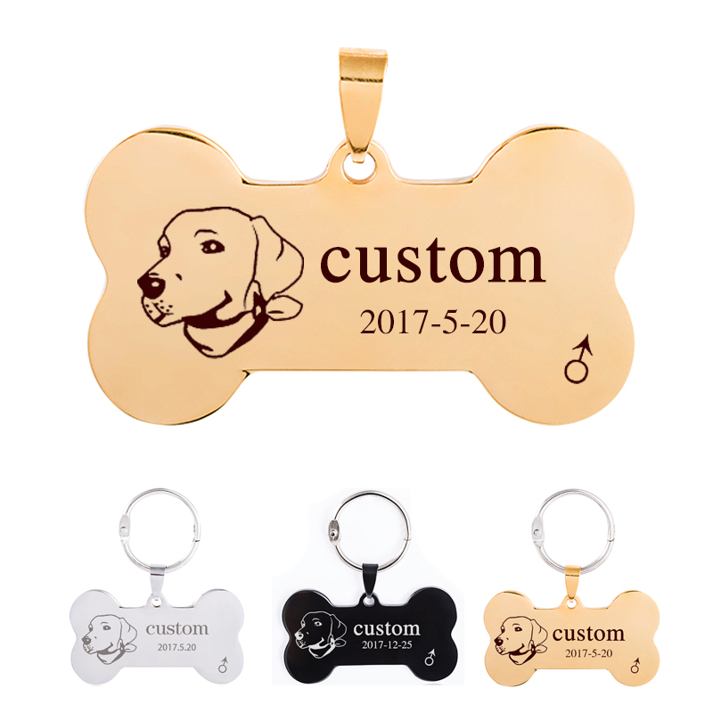 Venxuis Personalized Rectang Stainless Steel Cat Dog ID Tags Key Chain Customs Pet Telephone Engraved Pendant Necklace