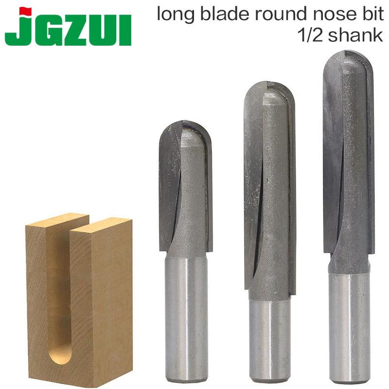 1PC 1/2 Shank CNC Carbide End Mill Tool Long Blade Round Nose Bit Core Box Router Bit - Long Reach
