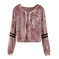 Snowsong 4003 Women Striped Long Sleeve Hoodie Sweatshirt Short Pullover Tops Velvet Blouse