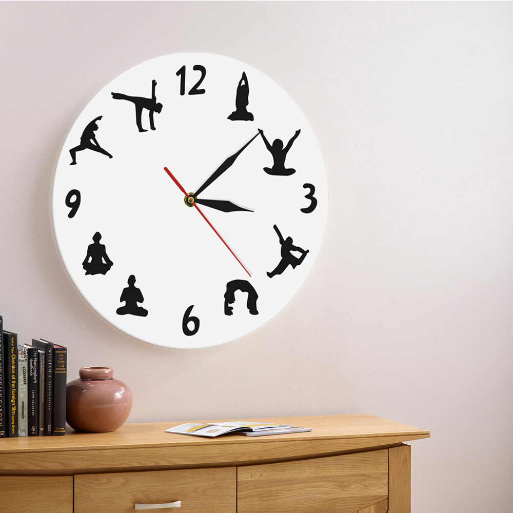 1Piece Yoga Silhouette Wall Clock Personalized Sports Iconic Wall Clock Keep Fit Wall Watch Yoga Hindu Decorative Wall Clock