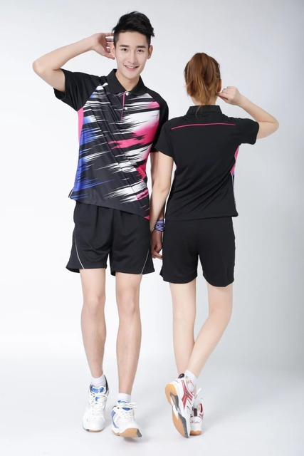 Sportswear Quick Dry breathable badminton shirt,Women/Men black/blue table tennis clothes team game training golf POLO T Shirts