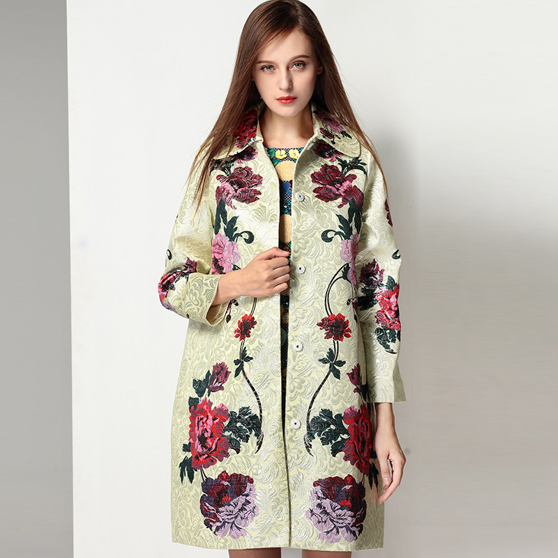 Women Coat Runway Jacket 2018 Elegant Jacquard Spring Autumn Winter Womens Outwear Windbreakers Coats Clothing Long Cape Jackets