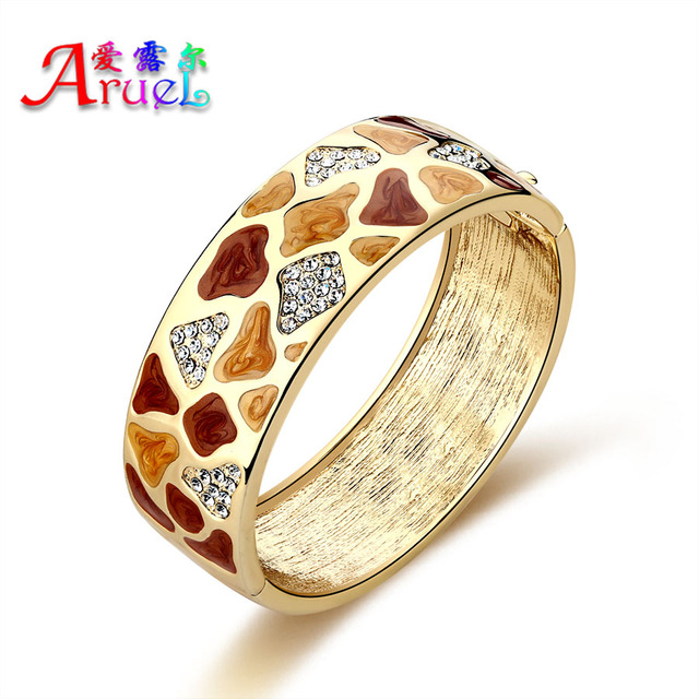 pulseiras fashion Nigerian African Colorful gold plated jewelry crystal rhinestone luxury wedding bracelets bangle for women