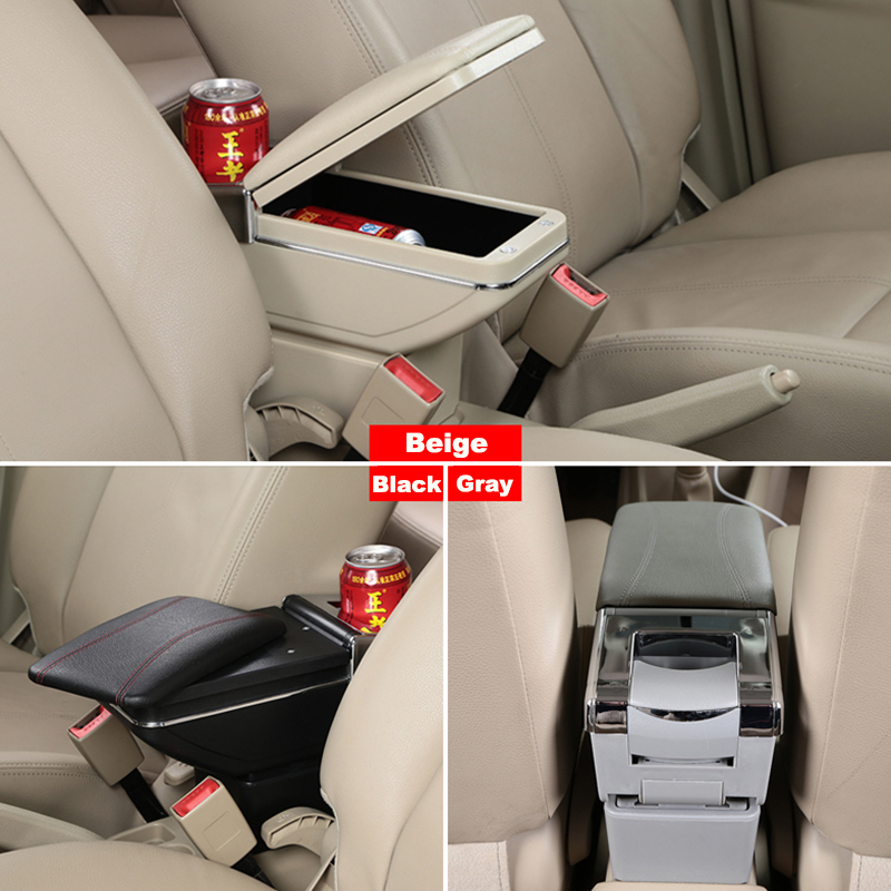 For F ord Fiesta 3 MK7 2011-2018 Car Armrest Accessories Centre Console Storage Box Arm Rest Black