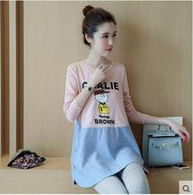 Women Pregnant Clothes Spring Antumn Pregnant Tees Maternity T-shirts Casual Cotton Linen Maternity Clothes Pregnancy Tops B178