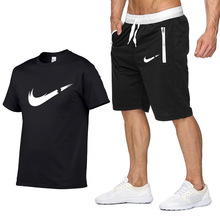 New brand LOGO Men T Shirts+Shorts 2piece Short Sleeve Round