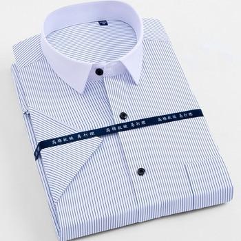 גדול גודל 4XL 5XL 6XL 7XL 8XL גברים של שרוול קצר חולצות מקרית עבודת מותג גברים חולצות מוצק צבע & פסים/אריג חולצה גברים