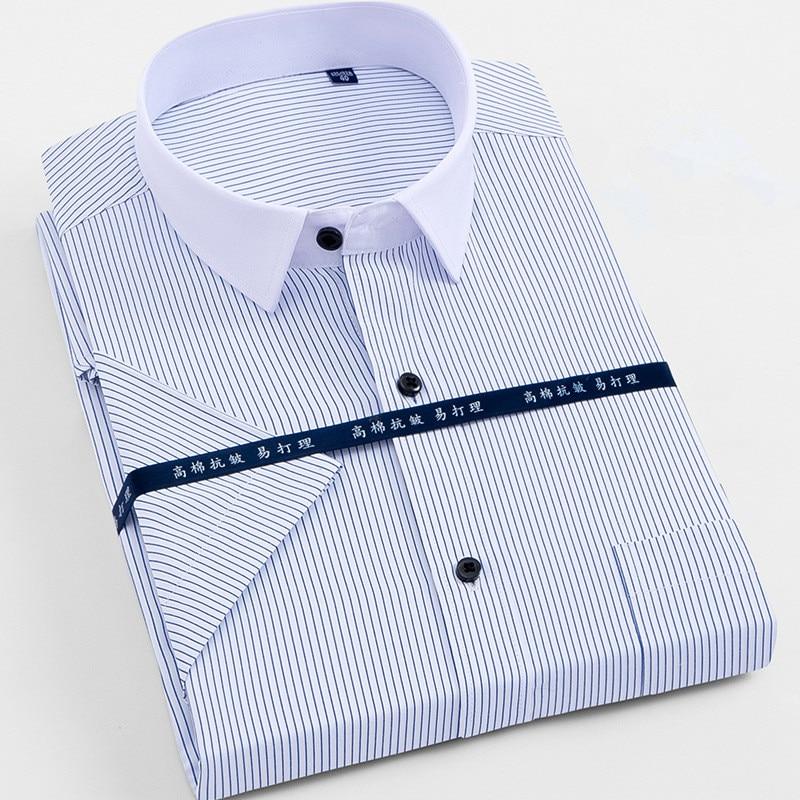 Large Size 4XL 5XL 6XL 7XL 8XL Men's Short Sleeve Shirts Casual Work Brand Men Shirts Solid Color & Striped / Twill Shirt Men