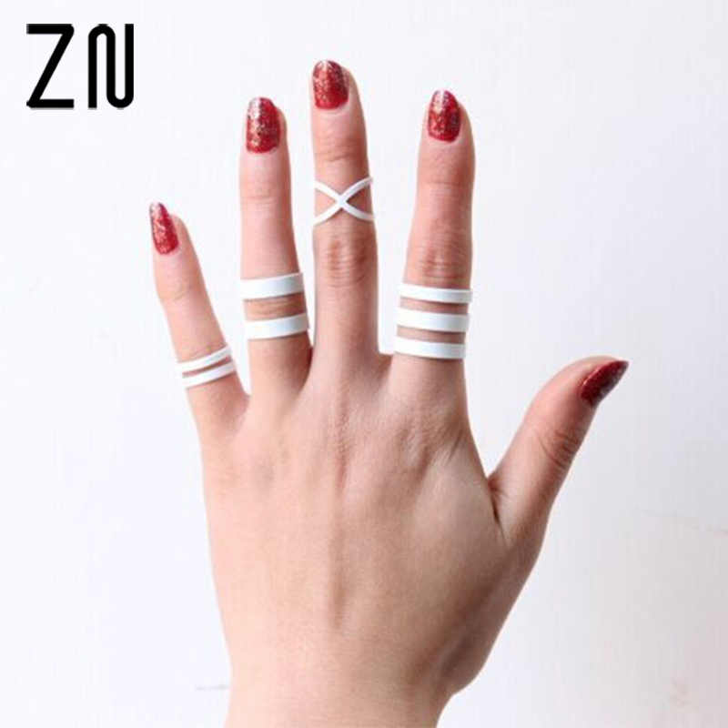 Women White Punk Lucky Rings Knuckle Ring Finger Multilayer Exaggerated  Ring Set