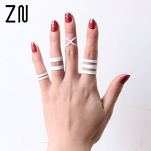 Women White Punk Lucky Rings Knuckle Obergelenk Ring Finger Spitzen Ring Nagel Ring Knuckle Ring Set Multilayer Exaggerated цена