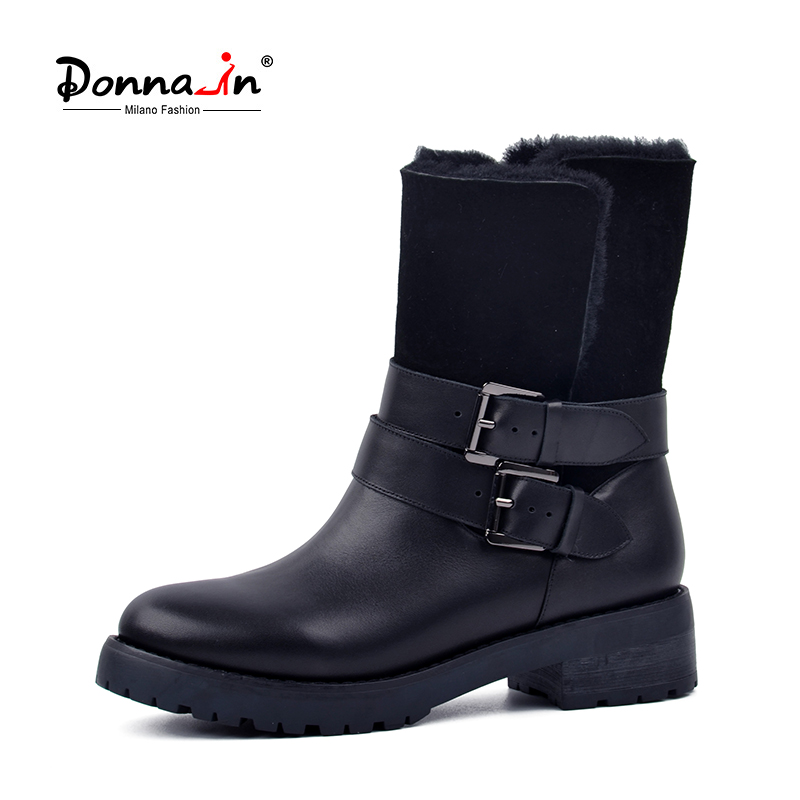 Don-in 2018 winter Boots Women Real Fur Mid-calf Warm Wool Low Heel Snow Shoes Thick Outsole Metal Buckle Ladies