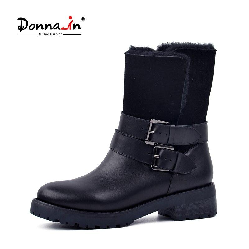 Ne-dans 2019 hiver Bottes Femmes Vraie Fourrure mi-mollet Bottes Chaud Laine Bas Talon chaussures de neige Épais Semelle boucle en métal chaussures dames