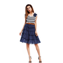 Vintage Black Striped Mesh Summer Dresses Women Casual Clothes 2017 Girls Short Sleeve O Neck Tshirt Dress Female With Belt
