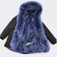 2019 Women winter coat outwear natural large raccoon fur collar real fur parka luxury fox fur liner long parka jacket waterproof