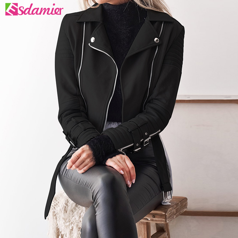 ESDAMIER 2018 Fashion   Suede     Leather   Jacket New Women Motorcycle Faux   Leather   Short Jackets Turn Down Collar High Street Coat