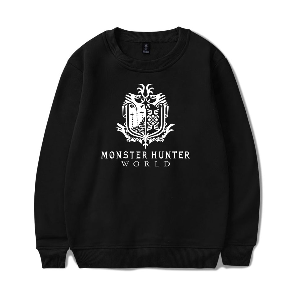 Monster Hunter World Sweatshirts Fashion Long Sleeve Hoodies Printing Pattern O-Neck Hoodies Men/women Pullover Sweatshirts