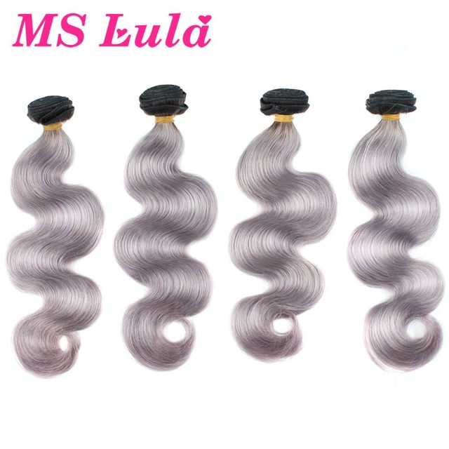 Free shipping 5pcs lot 100g/pc Hot Sale 7A Grade fashion ombre silver grey hair weave human hair brazilian hair weave bundles
