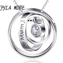 S925 Sterling Silver Jewelry Rotatable Zirconia Pendant Necklace Mum I Love You Mum Thank You Necklace Women Wedding Gift