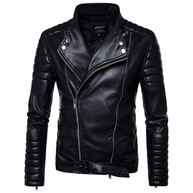 Unique Design Style Youth Men Black Long-sleeved PU Leather Jackets Size 5XL High-end Mens Fall Winter Fashion Motorcycle Coats