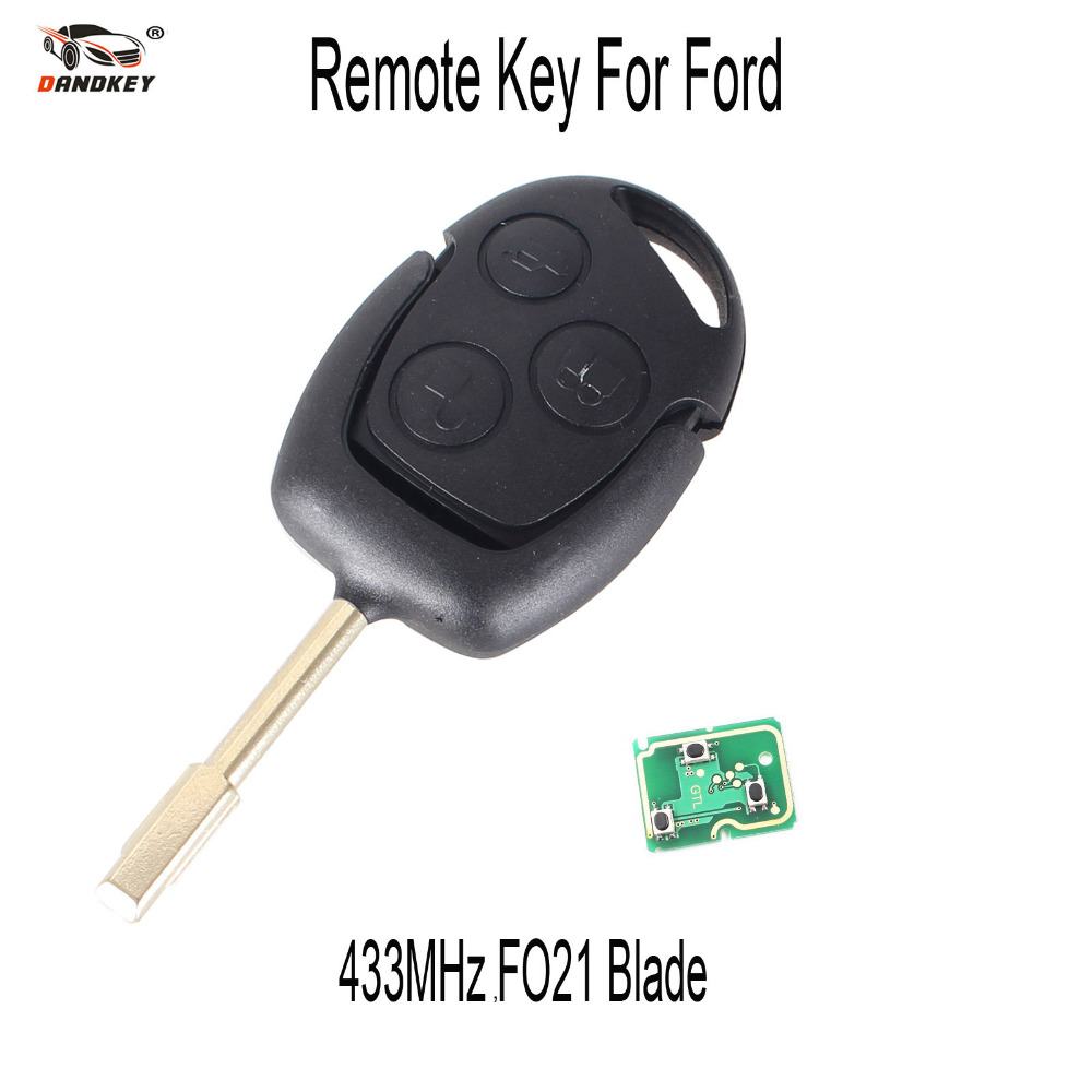 DANDKEY FO21 Blade Car 3 Buttons Remote Entry Key 433MHZ FOB for FORD MONDEO FIESTA FOCUS KA TRANSIT K2
