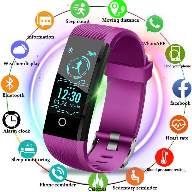2019 Mais Novo LIGE Inteligente Pulseira Relógio Das Mulheres Dos Homens de Fitness Rastreador monitoramento da freqüência cardíaca pressão Arterial Inteligente Relógio Do Esporte banda