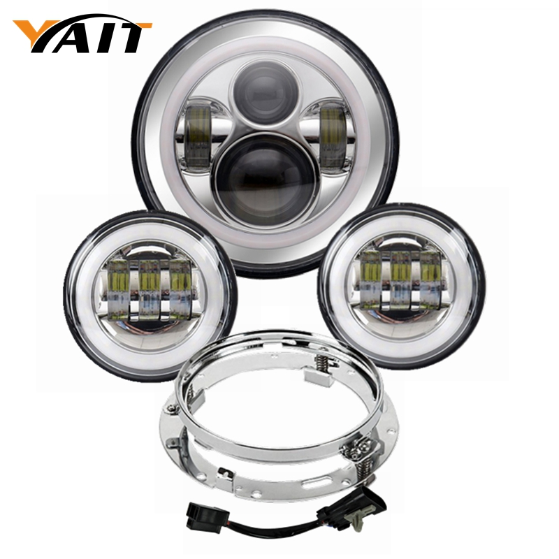 Yait 7 inch LED Headlight Daymaker + 4.5 inch Fog Light + Bucket Bracket for Harley Davidson Electra Glide Street Glide Fat Boy 5 75 5 3 4 chrome headlight housing bucket for harley electra glide bad boy