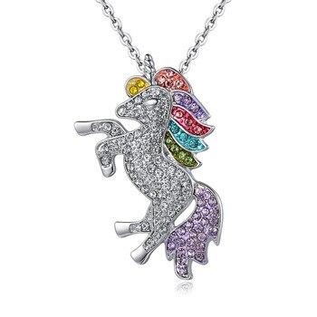 f21793a6ac83 Tassina unicornio caballo de las muchachas collar Vintage cristal rosa de  oro de Color largo colgante para mujeres joyería de moda collar