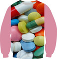 2016 Spring New Women Men 3D Sweatshirt Colorful Pill Print Pullover Fashion Hoodies Size XS-6XL Fleece Crewneck Funny Tops