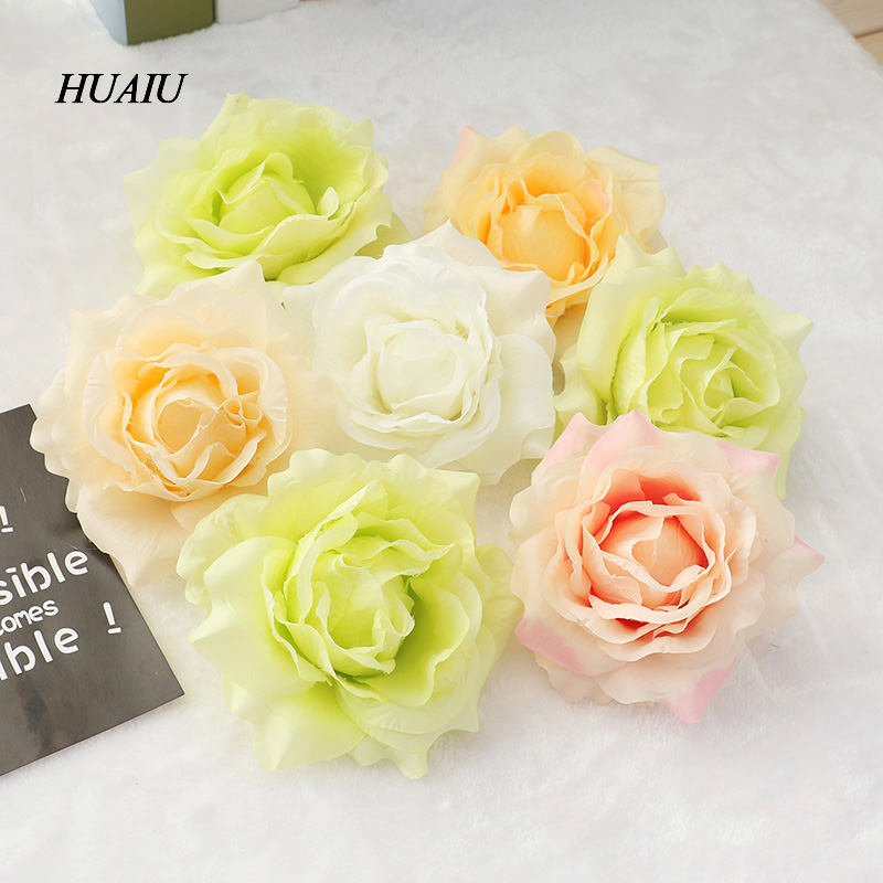 9pcs/lot Decorative Flowers Silk DIY Flower Heads For Home wedding decoration Artificial Rose Wall for New Year