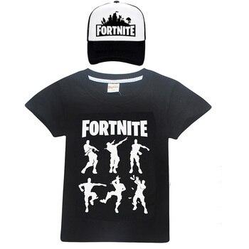 2018 Summer Fortnite Shirts Boys Clothes Celebrations Childrens Child T shirts girls Tops Kids Gaming Dance Dab Cap & T-Shirts