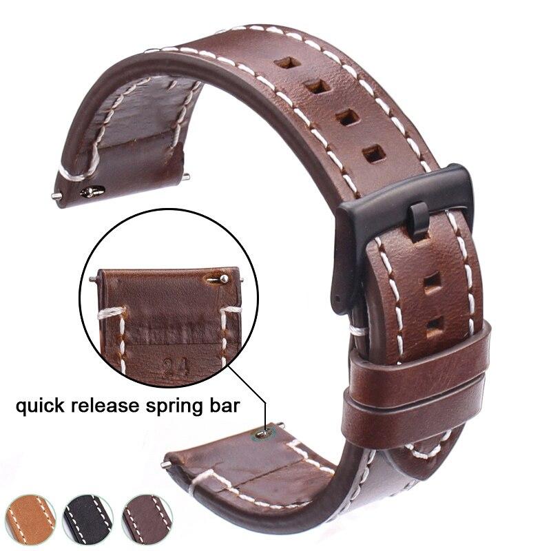 Correas de reloj de cuero genuino 18mm 20mm 22mm 24mm negro marrón oscuro mujeres hombres de cuero de vaca Correa cinturón con hebilla