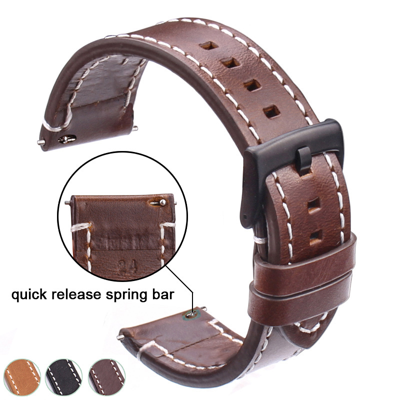 Genuine Leather Watchbands 18mm 20mm 22mm 24mm Black Dark Brown Women Men Cowhide Watch Band Strap Belt With Buckle italian retro genuine leather watchbands black dark brown men 18 20 22mm soft watch band strap metal pin buckle accessories