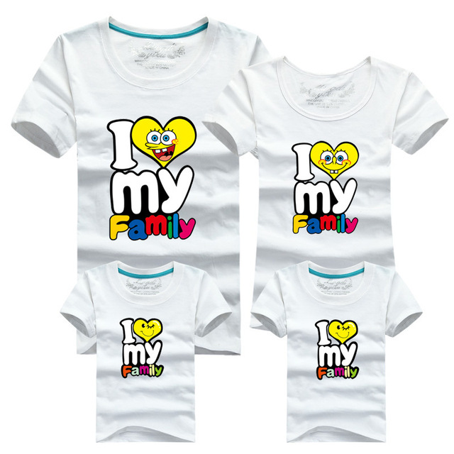 abbc1436d95 2015 Cartoon Spongebob Mother And Daughter Clothes Family Shirts Clothes T- Shirt Mother And Daughter Matching Clothes