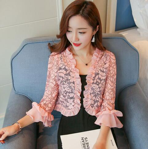 b921291e001 Detail Feedback Questions about Carol Diaries 2018 New Shrug Women Casual  3 4 Sleeve Lace Floral Light Crop Open Stitch Cardigan Short All match Shawl  Wrap ...