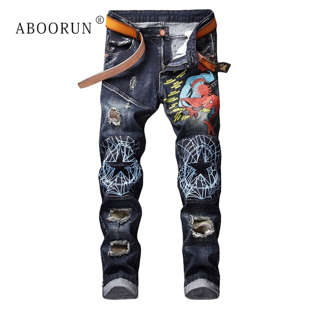 ABOORUN Hi Street Men's Brand Jeans Embroidery Patchwork Pencil Jeans Fashion Ripped Denim Pants for Male x1402