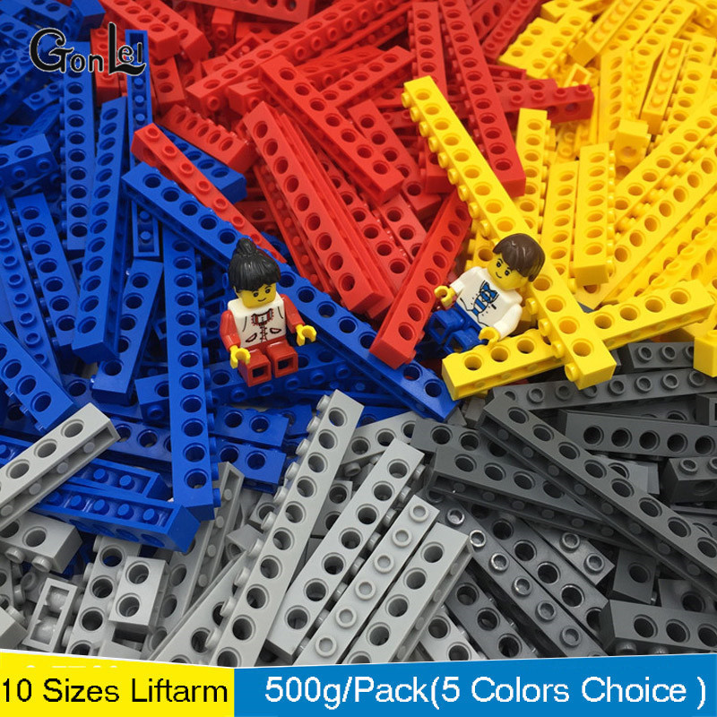NEW 500g Mixed Building Blocks Bricks Bulk Technic Parts Technic Liftarm 10 Sizes Compatible Technic Beam Sets Toy Free Shipping in Blocks from Toys Hobbies