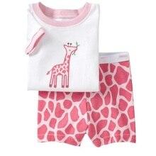 Пижамные комплекты для девочек 2, 3, 4, 5, 6, 7 лет, милый комплект одежды с жирафом для малышей Летняя Детская Пижама принцессы для девочек, комплект одежды для младенцев