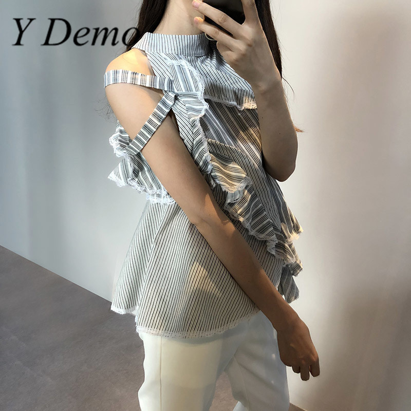 Y Demo Fashion Sleeveless Striped Shirt Women Patchwork Off Shoulder Ruffles Irregular Blouse